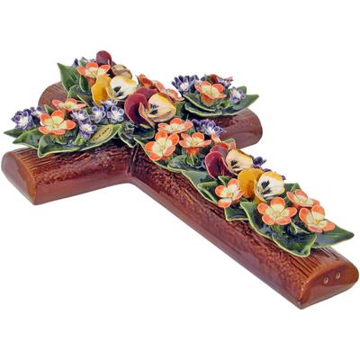 Fleurs ceramique croix pensées eglantines fleurettes