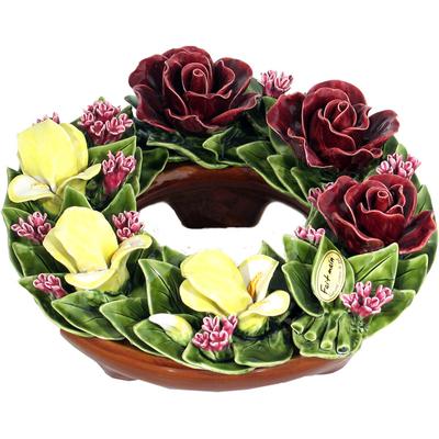 Fleurs céramique couronne roses lilas iris