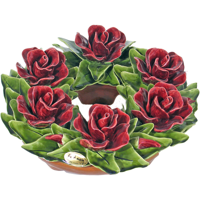 Fleurs ceramique couronne roses