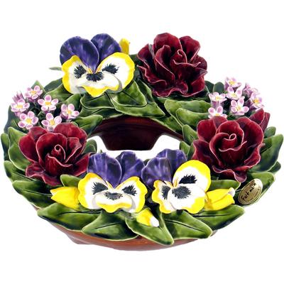 Fleurs ceramique couronne roses pensees violettes