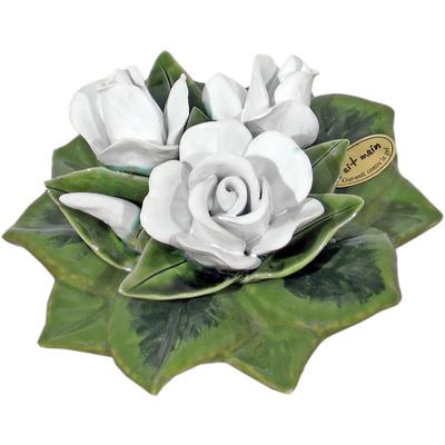 Fleur céramique socle boutons de roses