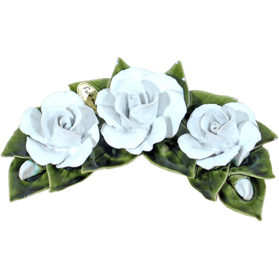 Fleurs ceramique croissant de 3 roses