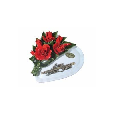 Fleurs ceramique coeur roses