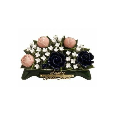Fleurs ceramique arceau pivoines roses fleurettes