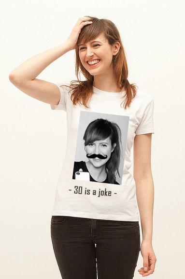 tshirt anniversaire votre portrait moustache life is a joke. Black Bedroom Furniture Sets. Home Design Ideas