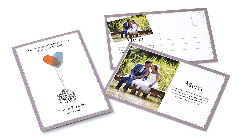100 cartes de remerciement de mariage avec vos empreintes - Faire Part De Remerciement Mariage Pas Cher