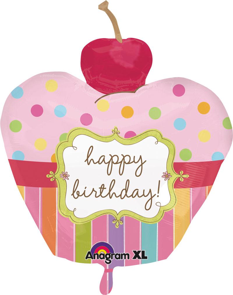ballon gonflable en forme de cupcake happy birthday. Black Bedroom Furniture Sets. Home Design Ideas