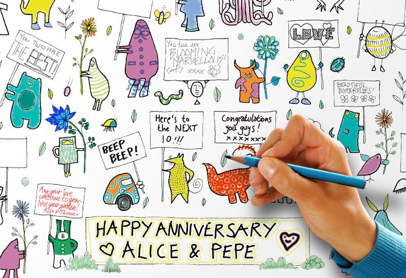 Affiche de f/ête /à colorier avec 160 personnages