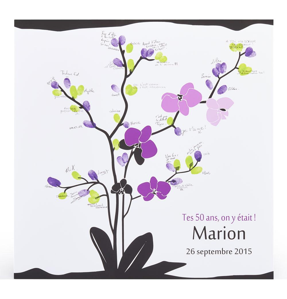 affiche empreintes fleur orchid e une animation et une d co. Black Bedroom Furniture Sets. Home Design Ideas