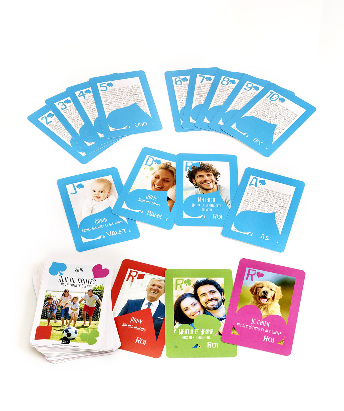 jeu de cartes personnalis avec les vrais personnages de la famille. Black Bedroom Furniture Sets. Home Design Ideas