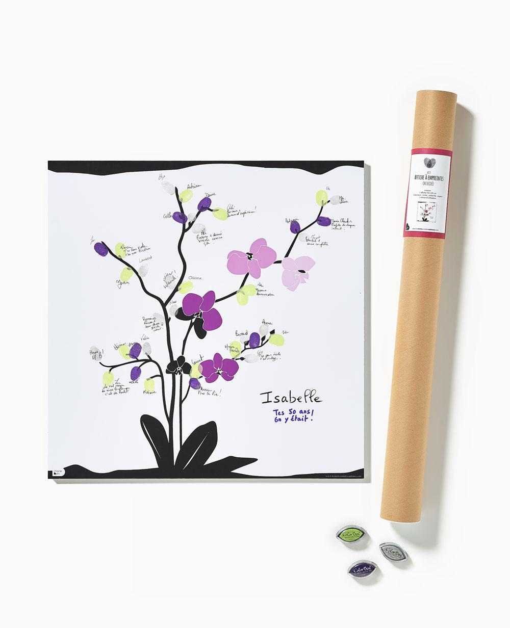 Affiche-empreintes-orchidee-anniversaire-mariage-noces-fete