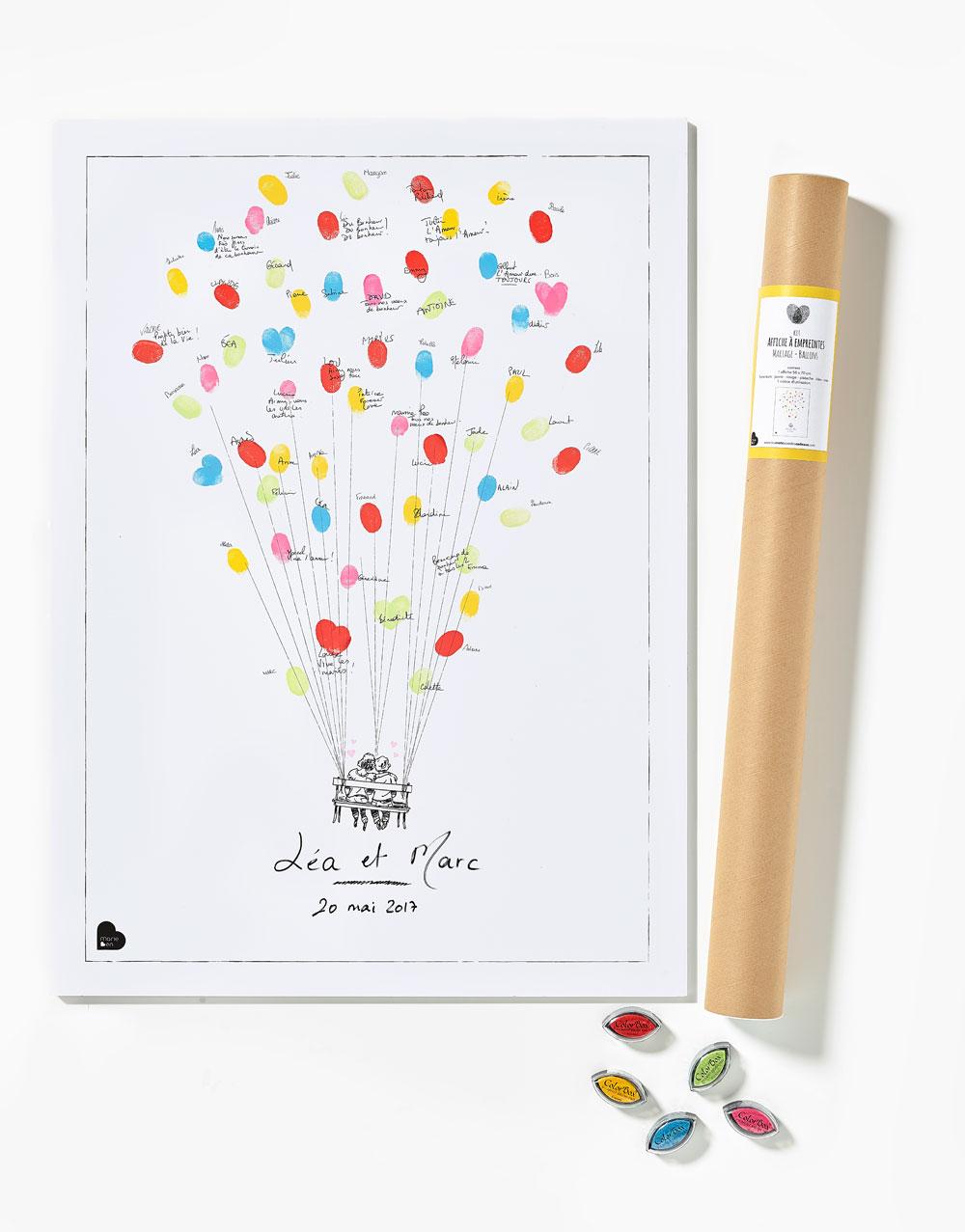 affiche empreintes mariage ballons kit affiche 5 encreurs. Black Bedroom Furniture Sets. Home Design Ideas