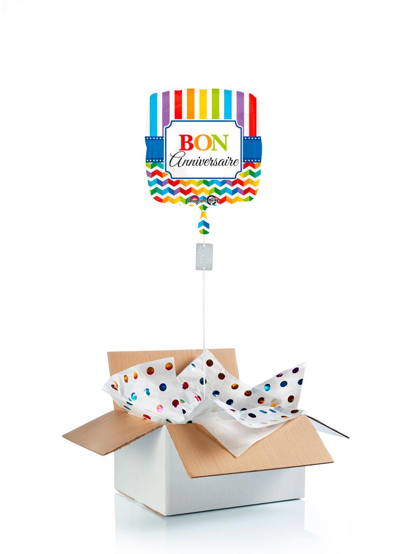 ballon surprise carr gonfl l 39 h lium bon anniversaire. Black Bedroom Furniture Sets. Home Design Ideas