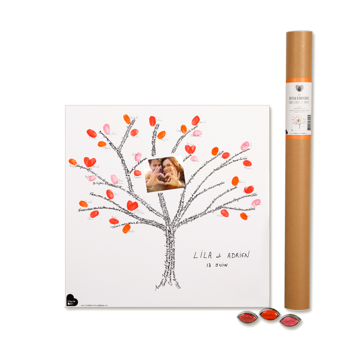 arbre empreintes arbre mots kit affiche 3 encreurs. Black Bedroom Furniture Sets. Home Design Ideas