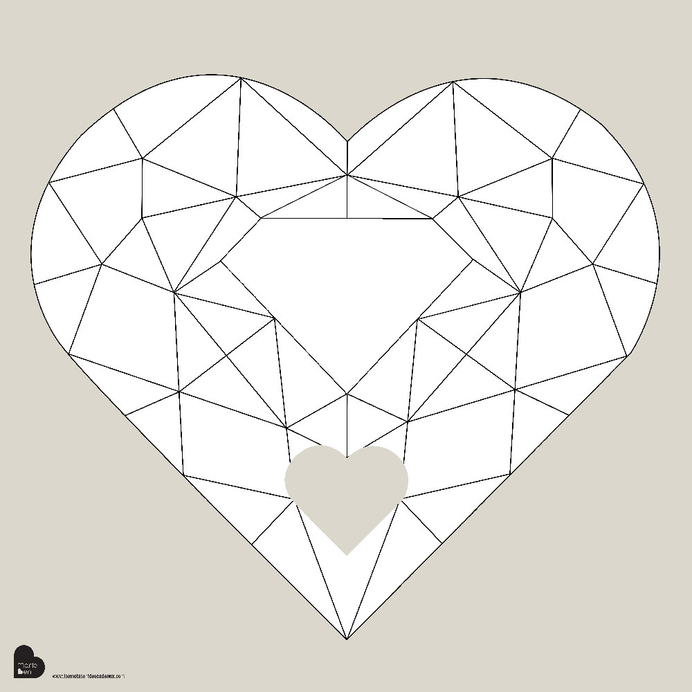 """Boite Lumineuse Idee Message affiche à compléter """"grand coeur diamant"""""""