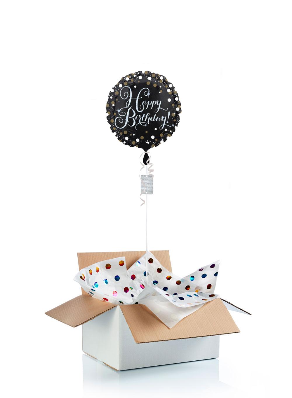 """Boite Lumineuse Idee Message ballon d'anniversaire """"surprise"""" gonflé à l'hélium : happy birthday  étincelant"""