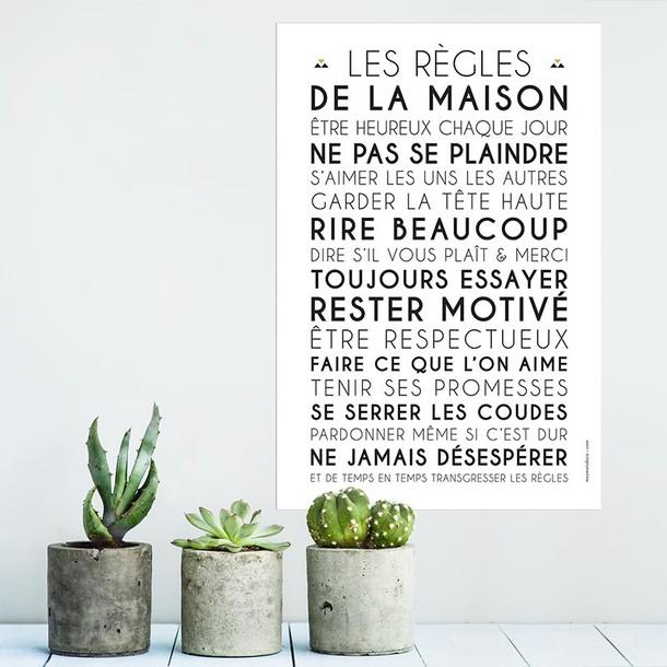 Les Regles De La Maison Affiche A Encadrer