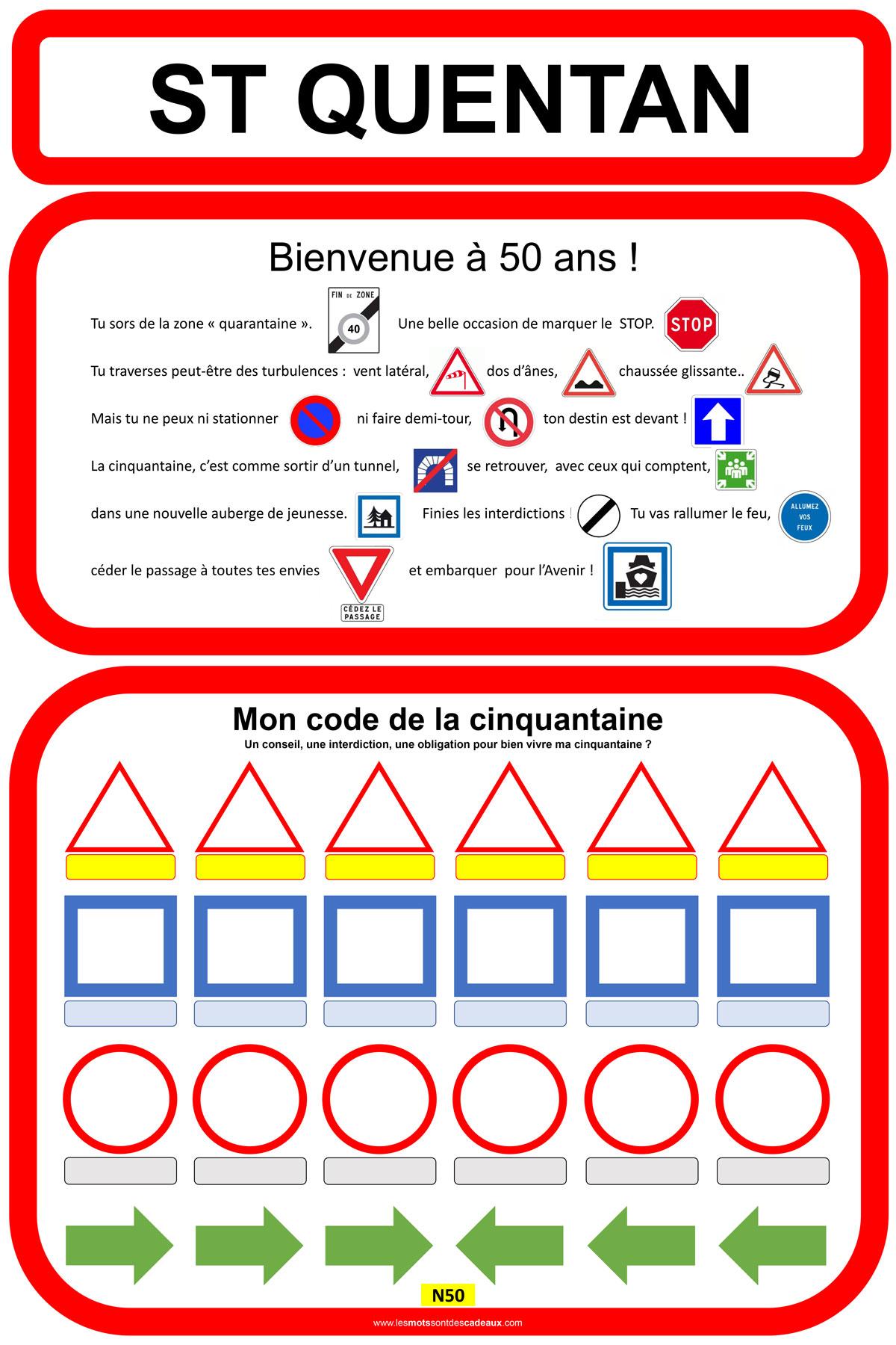 Affiche D Anniversaire Code De La Cinquantaine