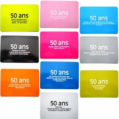 10 Cartes postales citations pour l'anniversaire de 50 ans