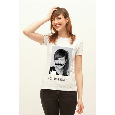 """Tshirt anniversaire """"votre portrait à moustache"""""""