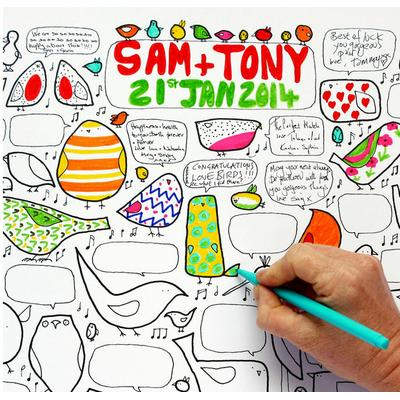 """Affiche de fête à colorier """"20 oiseaux"""""""