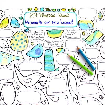 """Affiche de fête à colorier """"60 oiseaux"""""""