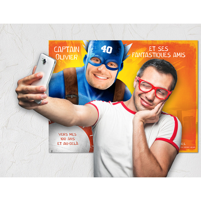 """Affiche d'anniversaire """"Super-héros"""" personnalisée (photobooth et livre d'or)"""