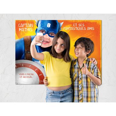 """Affiche d'anniversaire personnalisée """"super-héros"""" pour enfant"""