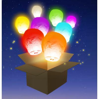 6 Lanternes volantes multicolores