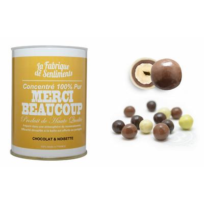 """Boite de chocolats """"100% pur MERCI BEAUCOUP"""""""
