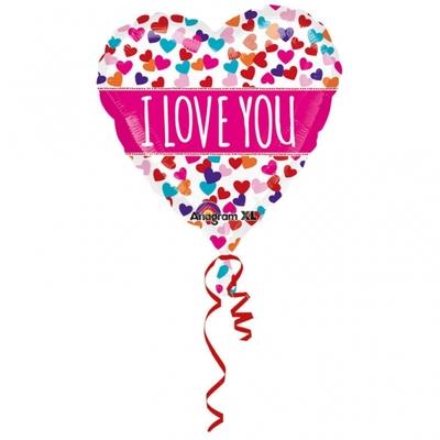 "Grand ballon gonflable en forme de coeur ""I love you"""