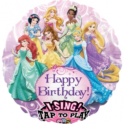 "Ballon d'anniversaire géant ""princesses"" qui chante ""happy birthday"""