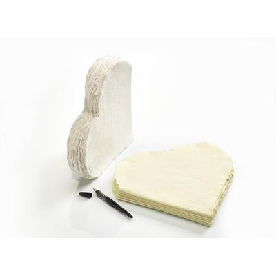 """Livre d'or """"Grand coeur"""" en papier-coton blanc"""