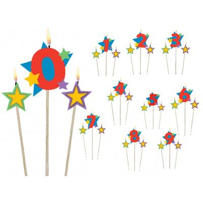 """Bougie d'anniversaire """"3 flammes"""" : chiffre et étoiles"""