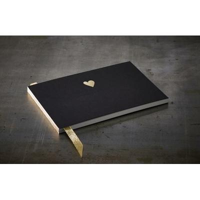 """Livre d'or noir """"coeur d'or"""" format A5"""