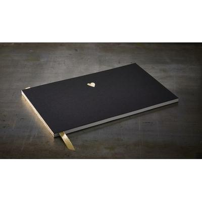 """Grand livre d'or noir """"coeur d'or"""" format A4"""