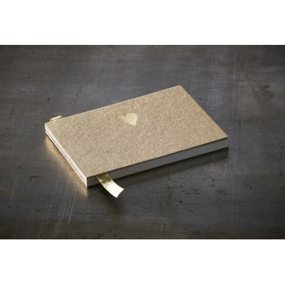 "Petit livre d'or kraft ""coeur d'or"" 15,5 x 10,5 cm"