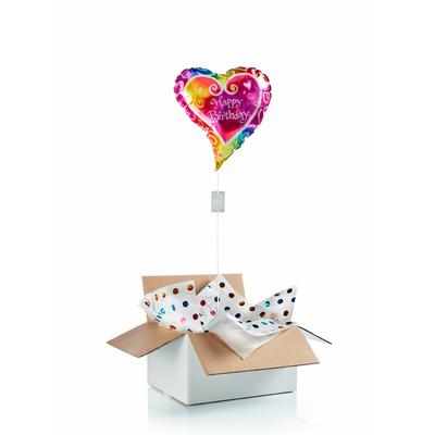 """Ballon d'anniversaire """"surprise"""" gonflé à l'hélium : coeur multicolore"""