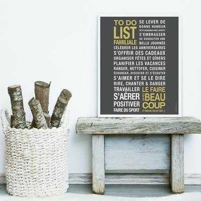 To do list familiale (affiche à encadrer) - fond carbone