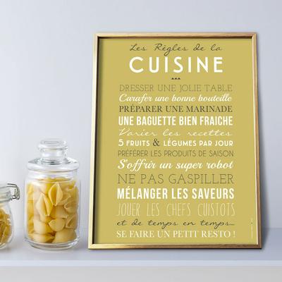 """""""Les règles de la cuisine"""" (affiche à encadrer), fond curry"""