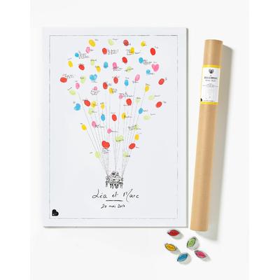 """Affiche à empreintes """"mariage ballons"""" (kit affiche + 5 encreurs)"""