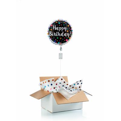 """Ballon d'anniversaire """"surprise"""" gonflé à l'hélium : pois brillants"""