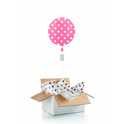 "Ballon ""surprise"" gonflé à l'hélium : pois rose"