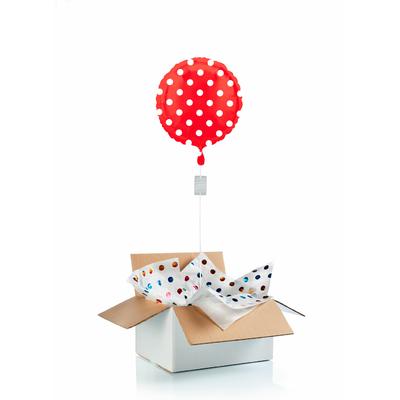 """Ballon """"surprise"""" gonflé à l'hélium : pois rouge"""