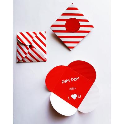 """Carte de St Valentin """"PomPom pidou...I love you"""" (fichier à imprimer)"""