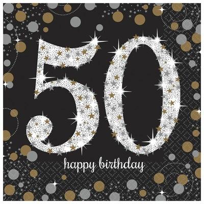 """16 serviettes en papier anniversaire """"50 ans"""" argent"""
