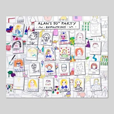 """Affiche de fête à colorier """"24 portraits"""""""