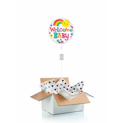 """Ballon """"surprise"""" gonflé à l'hélium : bienvenue au bébé """"arc en ciel"""""""