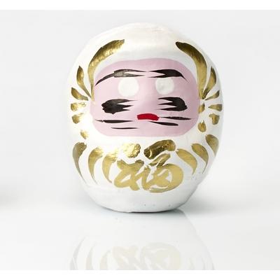 """Daruma blanc, poupée japonaise porte-bonheur """"amour et harmonie"""""""