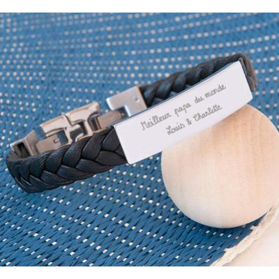 Bracelet en cuir tressé personnalisé
